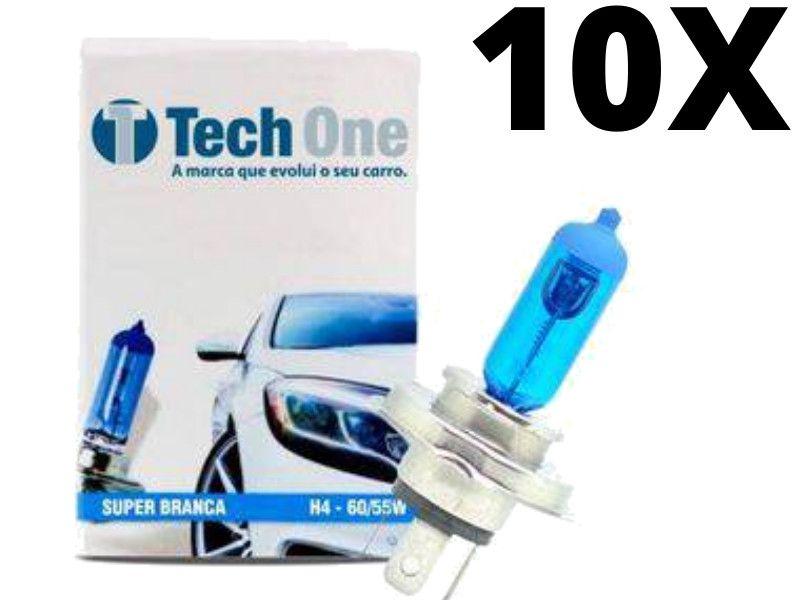 10 Unidades Lâmpadas Super Brancas H4  Efeito Xenon Techone  60/55W - 8500k