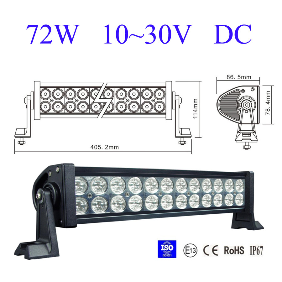 Barra Led 72w Farol Led - Off Road 4x4 - 6000k - 6.000 Lumens