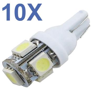 Kit 10 Lampadas Pingo T10 5 Leds Smd - Varias Cores