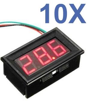 Kit 10 Voltímetros Led Digital 3 A 30v Display Vermelho