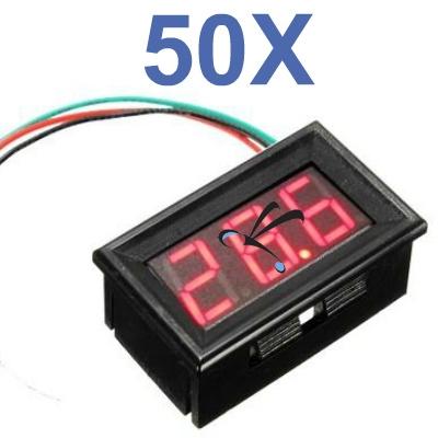 Kit 50 Voltímetros Led Digital 3 A 30v Display Vermelho