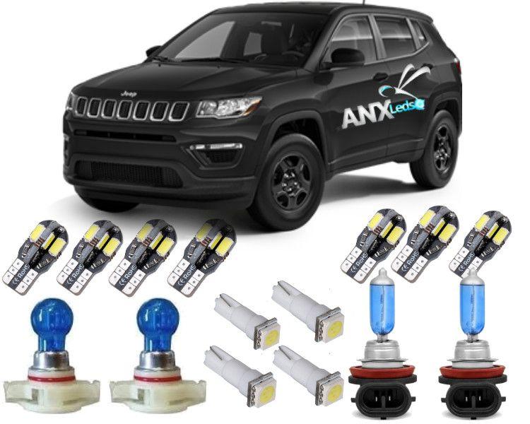 Kit Led Interno Completo Jeep Compass Com Para Sol Promocao