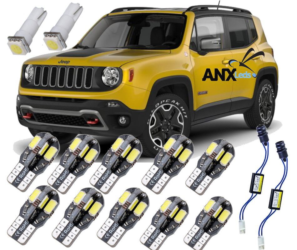 Kit Led Jeep Renegade 5000k Branco Puro Internas Placa