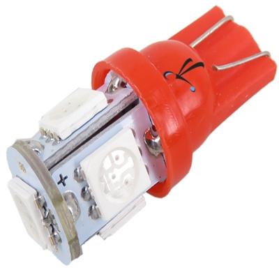 Lampada Pingo T10 5 Leds Smd Vermelha 12v