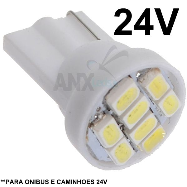 Lampada Pingo T10 8 Leds Smd  Branca 24V - Caminhoes e Onibus