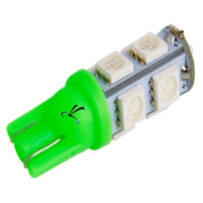 Lampada Pingo T10 9 Leds SMD Verde 12v