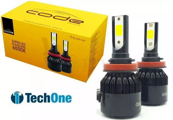 Par Lampada Farol H11 Led 36w 12v 7200 Lumens Alta Perfomace - 8000K  - CODE TECHONE
