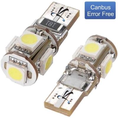 Par Lampada Pingo T10 5 Leds Smd 12v Canbus Canceller
