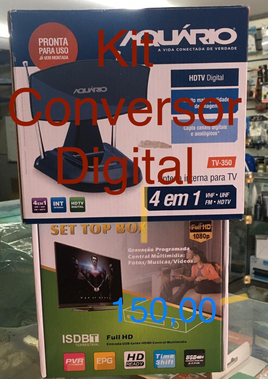 KIT CONVERSOR DIGITAL SET TOP BOX FULL HD 1080P E ANTENA DIGITAL HDTV TV 350 AQUÁRIO  - HARDER INFORMÁTICA