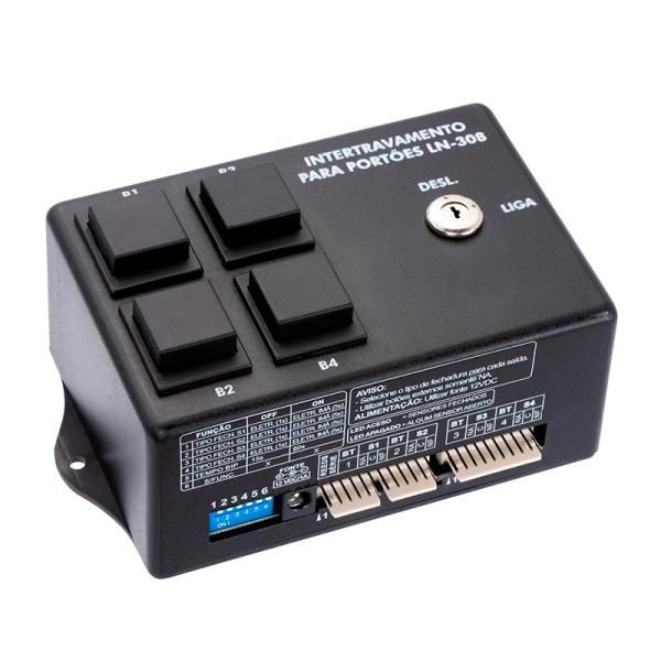 Módulo Intertravamento para portão 4 Botões Acionamento Nele Ou Receptor  - HARDER INFORMÁTICA