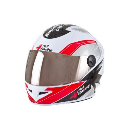 Capacete 4 Racing (+ Viseira Cromada) Vermelho/Cinza | 60 Pr  - Welckman Tintas