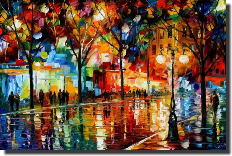 Quadro Decorativo Abstrato espatulado paisagem Praça