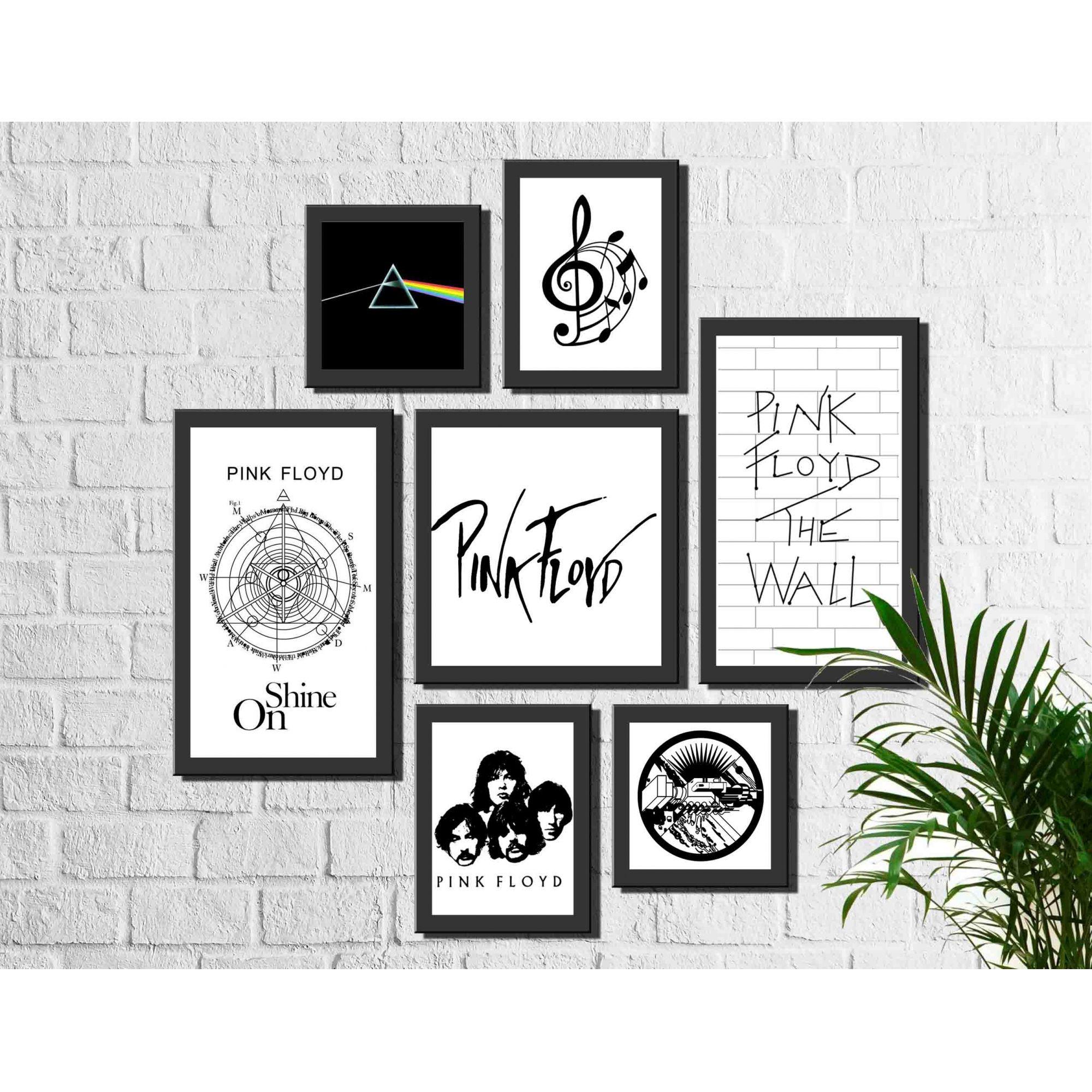Kit 7 Quadros Decorativos Banda Pink Floyd Rock