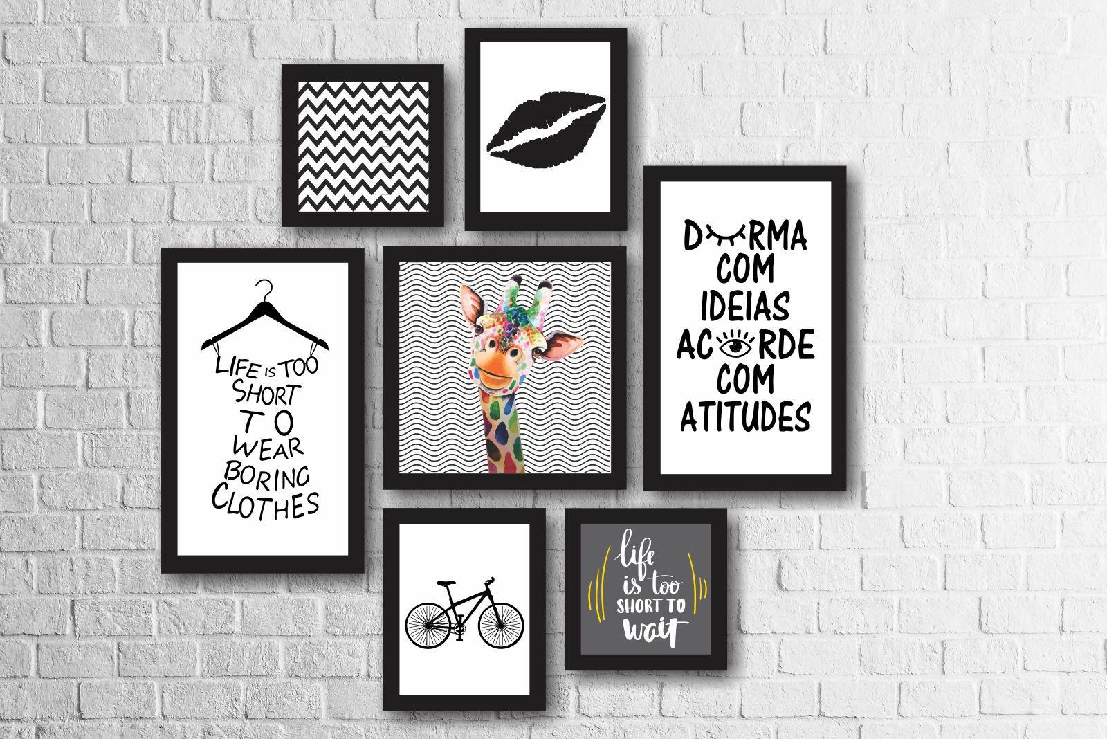 Kit 7 Quadros Decorativos Girafa Colorida Frases