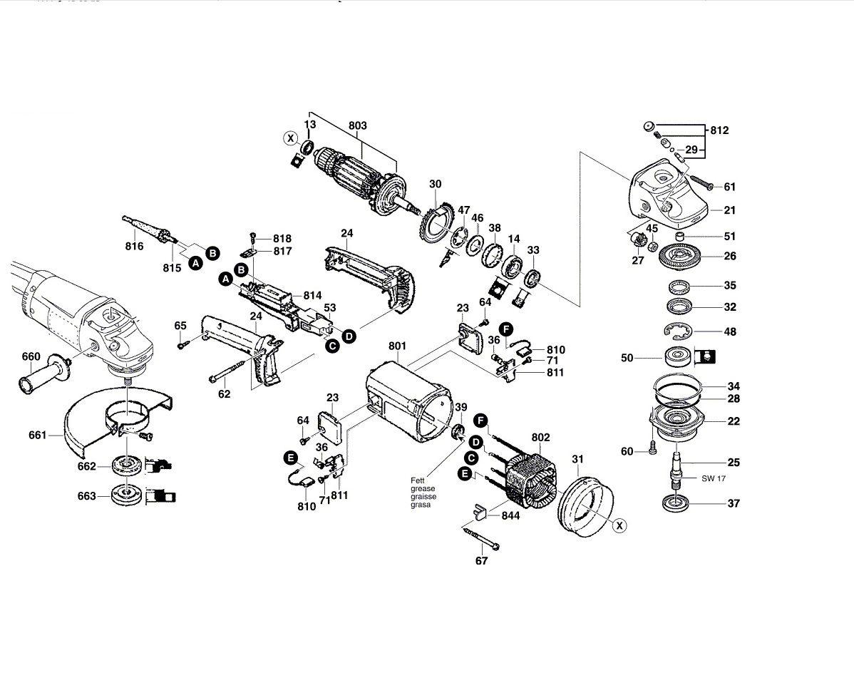 Peças p/ Esmerilhadeira Bosch 7 Pol  GWS 20-180 (0601751018)