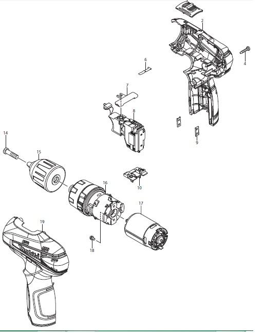 Peças p/ Parafusadeira/Furadeira-Bateria HP2014D-MAKITA