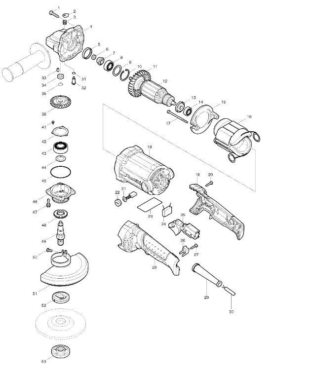 Peças para Esmerilhadeira GA5010 MAKITA
