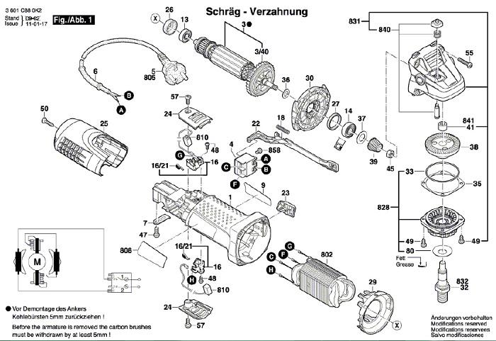 Peças para Esmerilhadeira GWS 7 - 115 - BOSCH (3 601 C88)