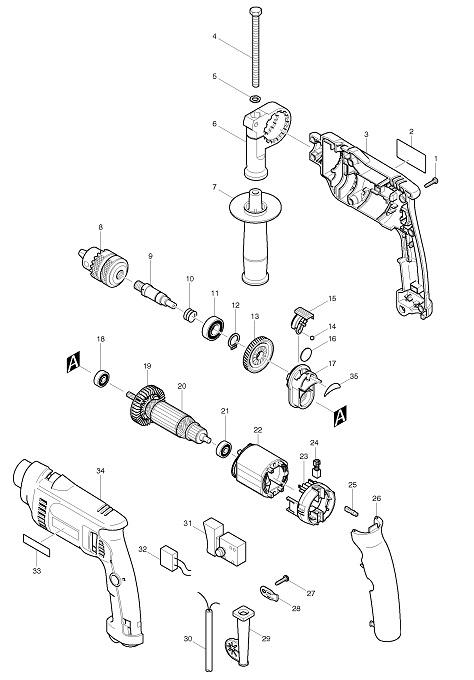 Peças para Furadeira HP 1620 - MAKITA
