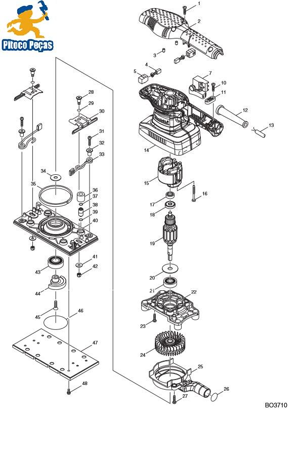 Peças para Lixadeira Orbital BO 3710 - MAKITA