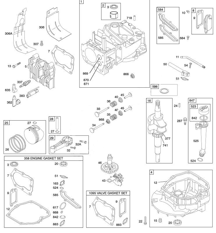 Peças p/  Motores de Cortadores de Grama 6HP BRIGGS 650SERIES