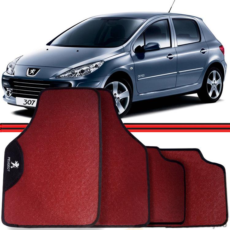 Jogo Tapete Automotivo Carro Peugeot 206 207 307 Vermelho  - Amd Auto Peças