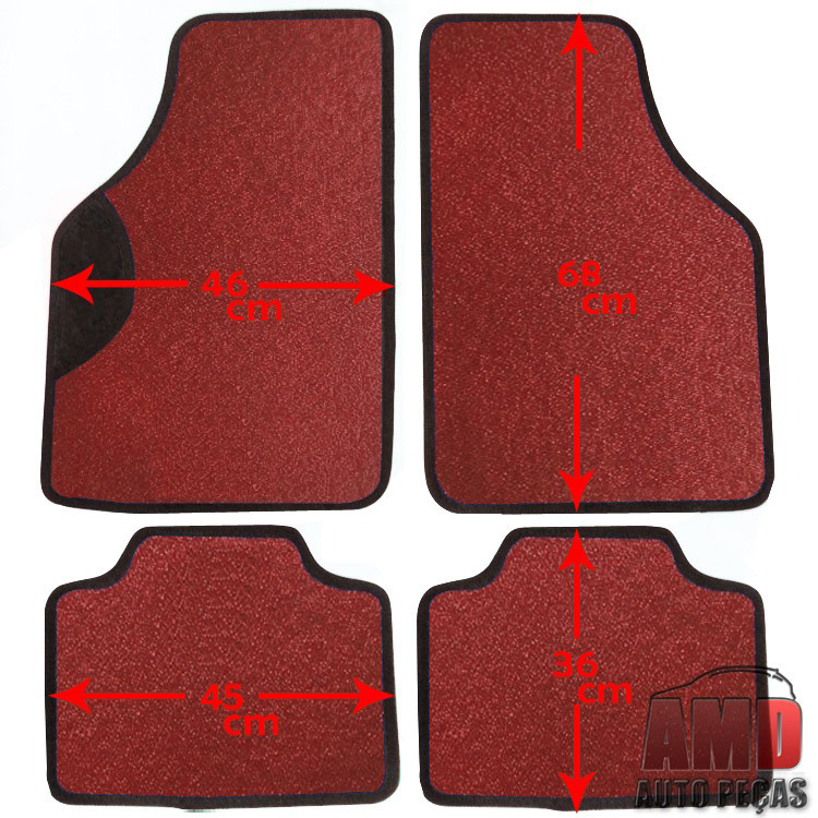 Jogo Tapete Automotivo Carro Peugeot 206 207 307 Vermelho
