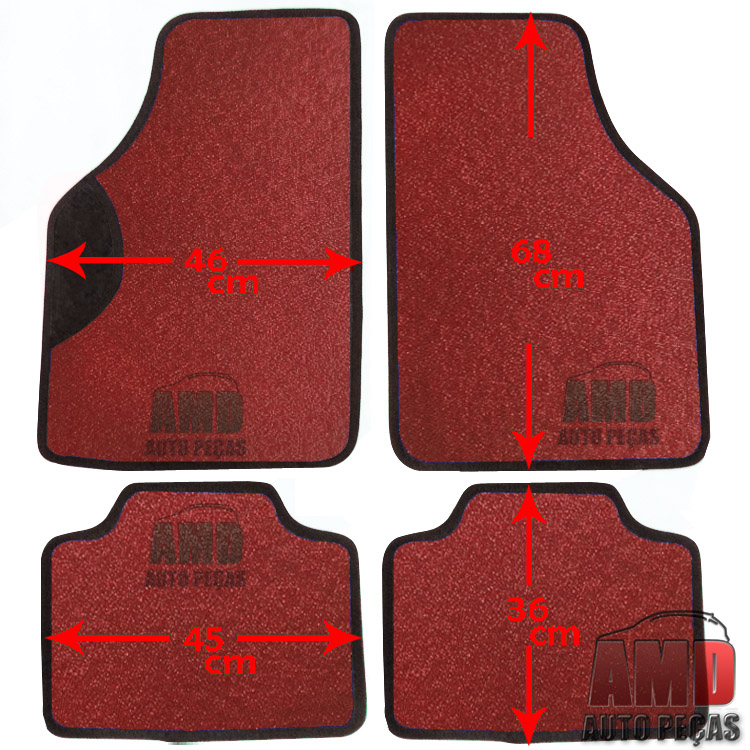 Jogo Tapete Automotivo Carro Parati Saveiro 80 a 10 Vermelho  - Amd Auto Peças