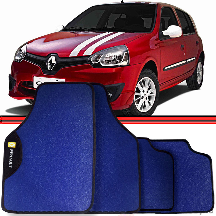 Jogo Tapete Automotivo Carro Clio Scenic Logan Azul  - Amd Auto Pe�as