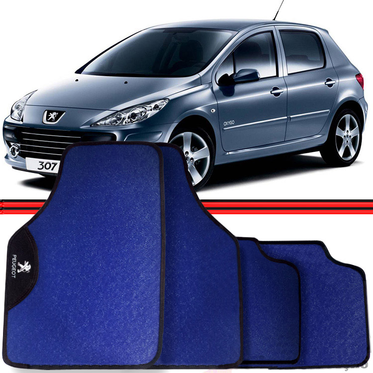 Jogo Tapete Automotivo Carro Peugeot 206 207 307 Azul  - Amd Auto Pe�as