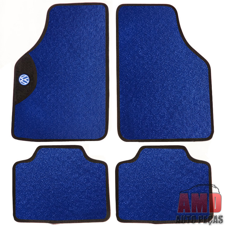 Jogo Tapete Automotivo Carro Amarok Bora Golf Azul