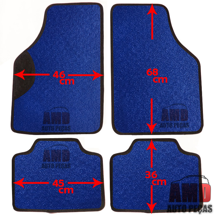 Jogo Tapete Automotivo Carro Amarok Bora Golf Azul  - Amd Auto Pe�as