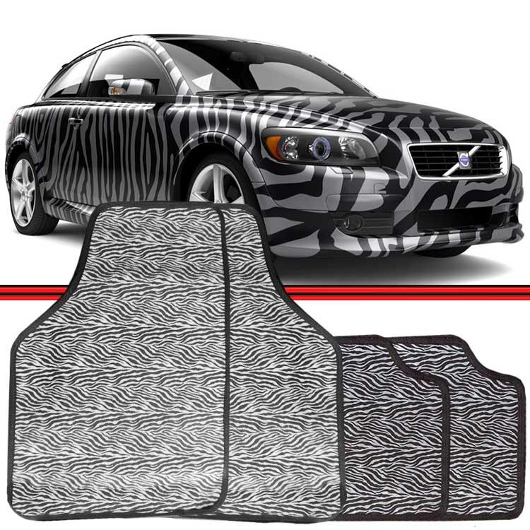 Jogo Tapete Automotivo Carro Universal Zebra Preto e Branco