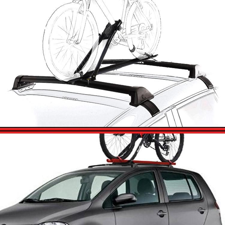 Kit Rack Travessa Wave Baixo + Suporte Bike Fox 04 em diante 4 Portas Preto  - Amd Auto Peças