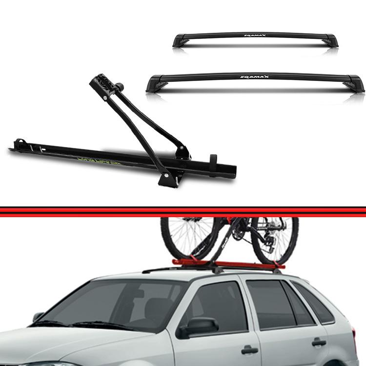 Kit Rack Travessa Wave Baixo + Suporte Bike Gol G3 G4 99 a 08 New Wave 2 ou 4 Portas Preto  - Amd Auto Peças