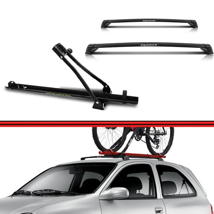 Kit Rack Travessa Wave Baixo + Suporte Bike Corsa 02 em diante Preto  - Amd Auto Peças