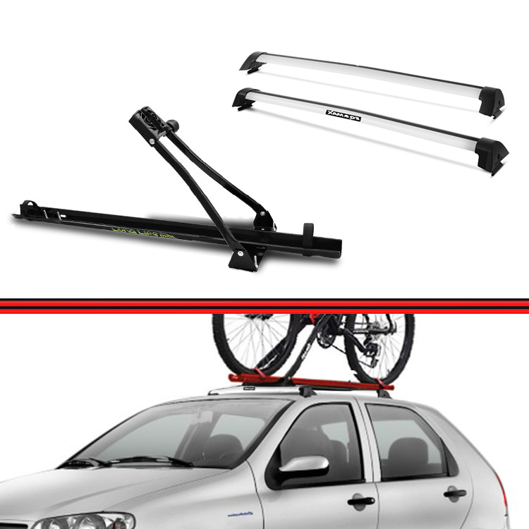 Kit Rack Travessa Wave Baixo + Suporte Bike Palio 12 em diante 4 Portas Prata  - Amd Auto Peças
