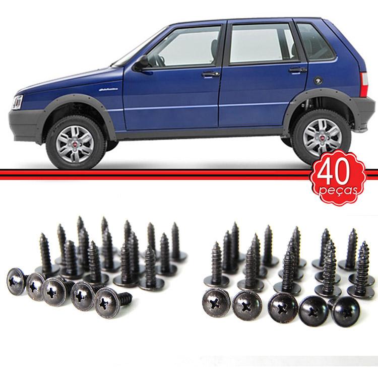 Kit Moldura Paralama + Parafusos Uno Way 04 a 14 Dianteira e Traseira Cinza (4 Unidades)  - Amd Auto Pe�as