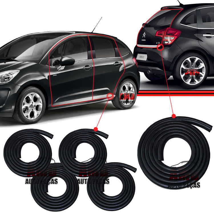Kit Borracha Porta + Porta Malas Citroen C3 Xsara Picasso 02 a 12 5 Unidades  - Amd Auto Peças