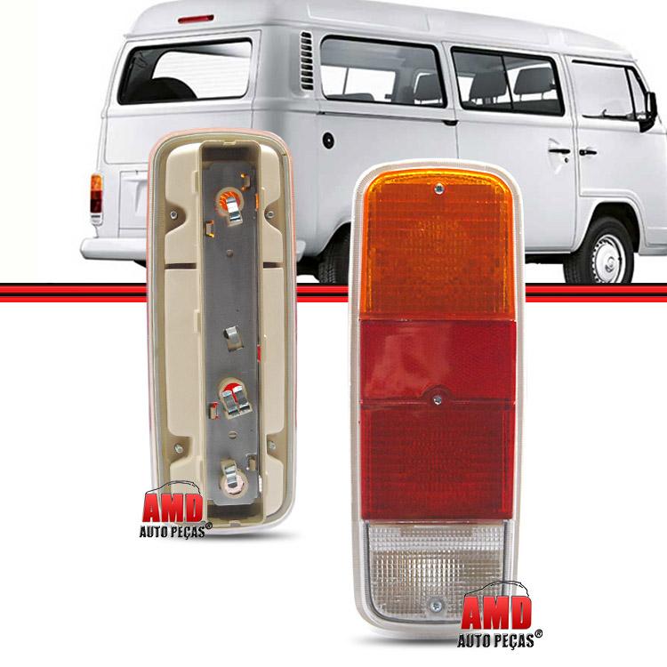 Par Lanterna Traseira Kombi Clipper Furgão Cabrita 76 a 96 Kombi Carat 97 a 14 Tricolor  - Amd Auto Peças