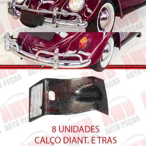 Kit Suporte Tubo Calço Vedação e Acabamento Parachoque Dianteiro e Traseiro Fusca 1200 59 a 69 20 Peças  - Amd Auto Peças