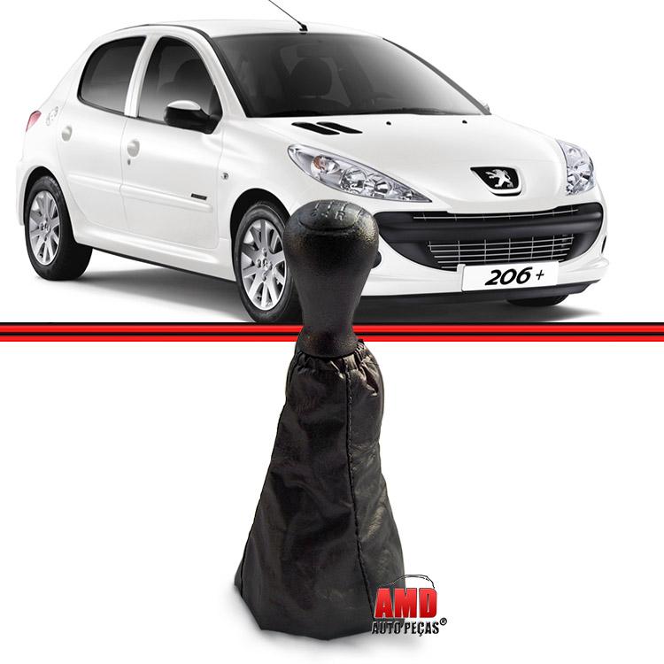 Kit Bola Manopla + Coifa Peugeot 206 207 Preta  - Amd Auto Peças