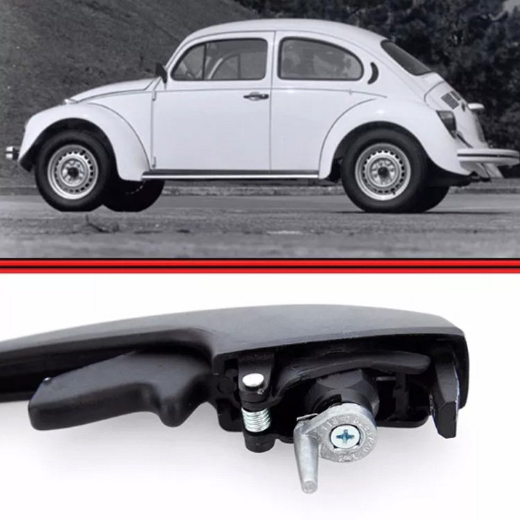Maçaneta Externa Porta Fusca Brasilia Variant Preta + Chave  - Amd Auto Peças
