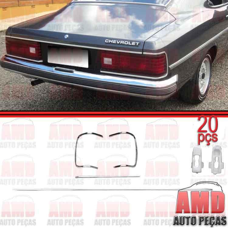 Kit Friso Moldura + Presilhas Grampos Farol Pisca Grade Lanterna Opala Caravan Comodoro  - Amd Auto Pe�as