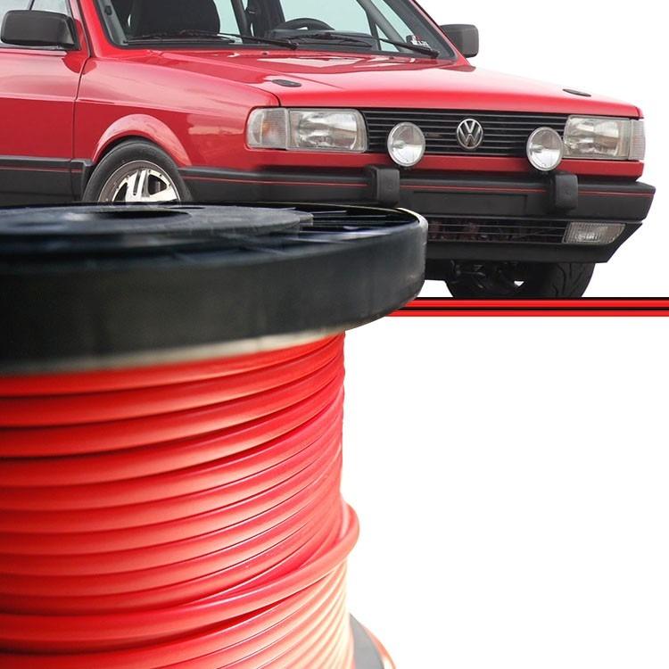 Kit Friso Parachoque Gol Voyage Parati GTS GTI GLS 87 a 95 Saveiro 87 a 97 Vermelho 3 Metros  - Amd Auto Peças