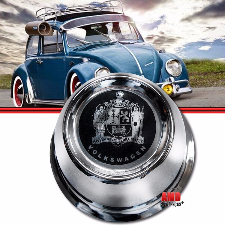 Kit Copo Copinho Calota Centro Roda Fusca 70 a 96 4 Furos Aço com Emblema Castelo  - Amd Auto Peças