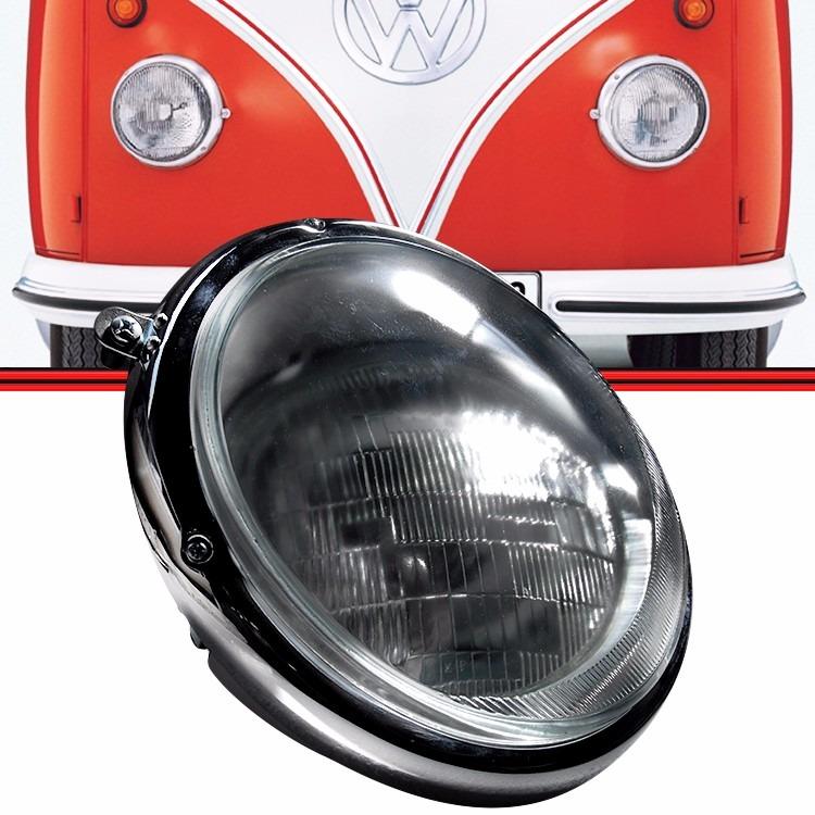 Farol Kombi Coruja 59 a 74 Carcaça em Aço + Aro em Aço Cromado Lente Vidro Liso Com Soquete + Lâmpadas  - Amd Auto Peças