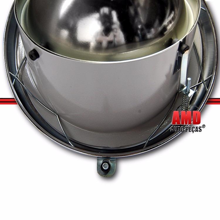 Par Farol Olho Boi Fusca Lente Raiada 63 a 72 Com Soquete Aro Cromado em Aço Excelente Qualidade  - Amd Auto Peças