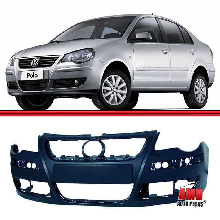 Parachoque Dianteiro Polo Hatch Sedan 07 a 11 Preto Liso Com Furo Para Milha  - Amd Auto Peças