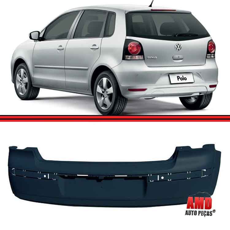 Parachoque Traseiro Polo Hatch 03 a 11 Preto Liso  - Amd Auto Pe�as